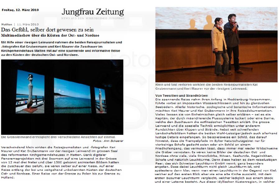 Jungfrau Zeitung - 12. März 2010 - Schweizer Leuchtturm GmbH - Multimedia-Show