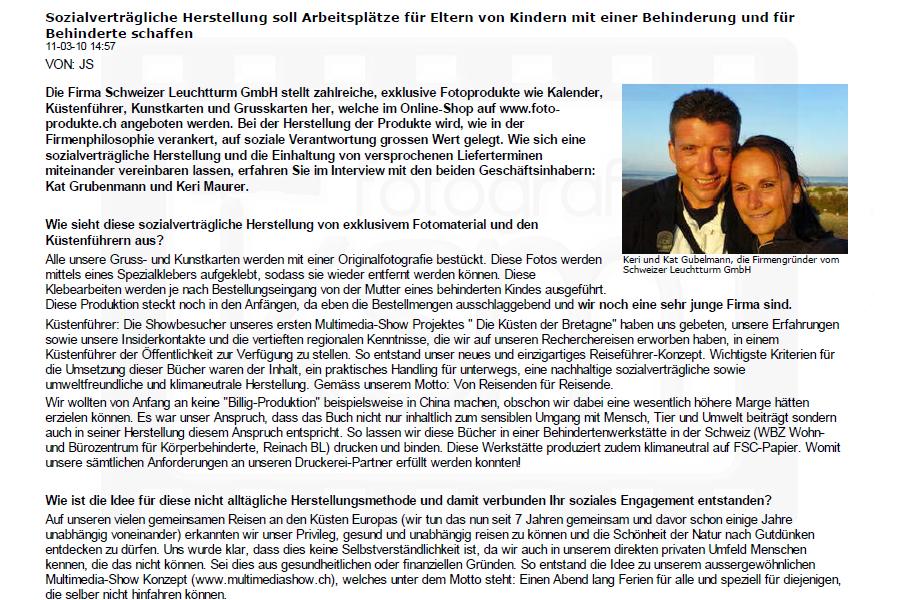 Sozialengagiert.ch - 10. März 2011 - Schweizer Leuchtturm GmbH - Sozialverträgliche Herstellung